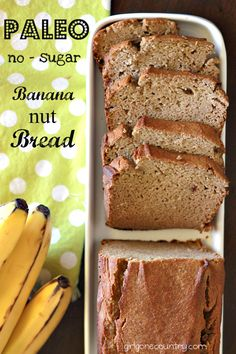 Paleo Banana Nut Bread - Easy, Delicious and Nutritious. No sugar (sweetened with ripe bananas and dates)