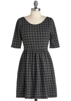 These Are the Days Dress - Short, Black, Grey, Houndstooth, Casual, A-line, 3/4 Sleeve, Fall, Work, Steampunk