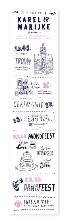 Wedding invitations & name cards for Karel & Marijke.