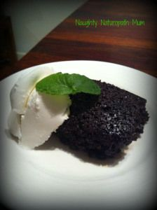 Chocolate Chia and Pear Brownie with coconut yoghurt - gluten and dairy free, and the brownie is egg free too!