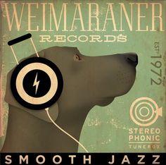 Weimaraner records original graphic art gallery by geministudio, $80.00
