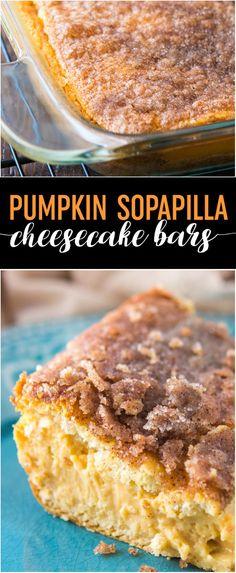 Pumpkin Sopapilla Cheesecake Bars Recipe - These dreamy bars are one of my favorite pumpkin dessert recipes of the season. Make it using refrigerated dough! Pumpkin Recipes, Fall Recipes, Holiday Recipes, Holiday Foods, Sweet Recipes, Sopapilla Cheesecake Bars, Pumpkin Cheesecake, Cheesecake Recipes, Delicious Desserts
