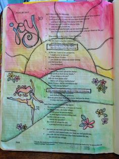 Psalm: 30 illustrated as dancing for joy in journaling Bible