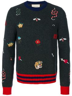 Shop Gucci embroidered knitted jumper.