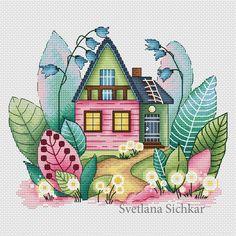 Magic spring house cross stitch design by Svetlana Sichkar - for purchase