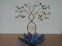 Lotus Goddess Gemstone Tree with Chakra Gemstones by crystalsenses, $250.00