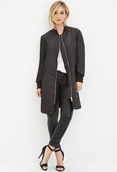 Longline Bomber Jacket | Forever 21 - 2000141950 Black: Medium