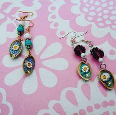 #Boho #beaded #resin #pistachio #earrings