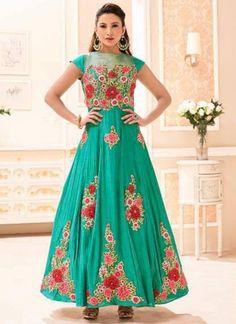 Gauhar Khan Sea Green Embroidery Work Silk Long Designer Anarkali Bollywood Suit