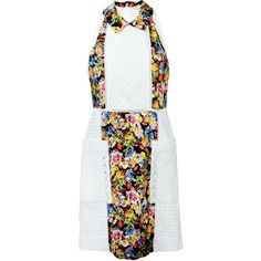 Mary Katrantzou 'Amblie' Broderie Anglaise Dress (48 620 UAH) ❤ liked on Polyvore featuring dresses, multicolor, white day dress, mary katrantzou dress, flower print dress, white a line dress and floral print dress