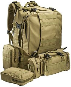 """""""Big Monkey"""" Military Tactical Backpack - 3 Bonus MOLLE Bags - 2.5L Hydration Water Bladder System Included.By Monkey Paks™"""