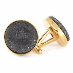 Bronze Cuff Links With Meteorite