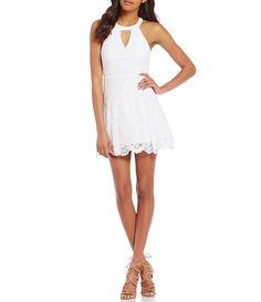 0d97c3922 Dear Moon Choker Neckline Lace Skater Dress Junior Dresses, Junior Outfits,  Dillards, Skater