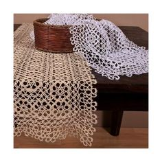 Handmade All-over Tatting Lace Rectangular Table Runner. 100% Cotton. One | eBay