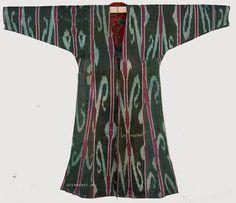 antik Usbekische Ikat Frauen Mantel Afghan Antique women s silk coat chyrpy No6