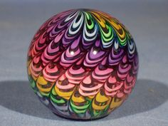 Marbles: Hand Made Art Glass James Alloway Rainbow New Design #1914  1.75inch #Contemporary
