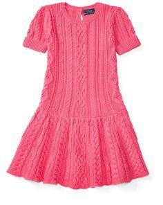 Girls 1 ½ - 6 ½ years - Robe-pull en tricot d'Aran de coton