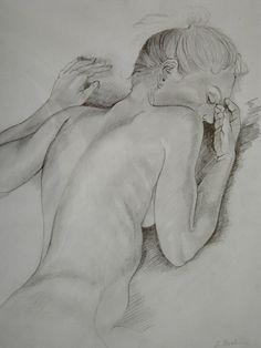 Zeichnung: Schlafende Frau - Jutta Bachmann