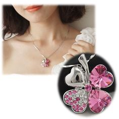 Four-Leaf-Lucky-Clover-Pink-SWAROVSKI-Crystal-18k-White-Gold-Plated-Necklace