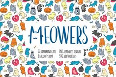 Meowers Icons and Seamless Pattern by Iconka on @creativemarket