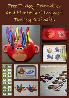 Links to lots of free turkey printables from around the blogosphere along with ideas for using free printables to create Montessori-inspired turkey activities for Thanksgiving