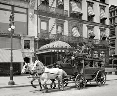 "The 5th Avenue Stage in 1900, just a year or two before the horses became obsolete. By 1903, the horse carriages had been retired for ""motor buses."""