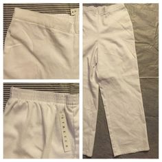 White Ankle Pant NWT White ankle pant with elastic back waist, no pockets, straight leg. 74% cotton, 23% polyester, 3% spandex. Alfred Dunner Pants Ankle & Cropped