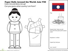 First Grade Geography Paper Dolls Community & Cultures Worksheets: Paper Dolls Around the World: Laos