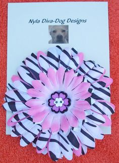 Flower & Flower Bling Dog Collar Accessory by NylaDivaDogDesigns, $6.00