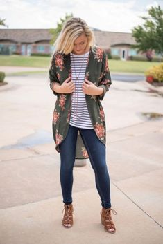 I love the floral kimono with the striped shirt.