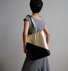 Midnight Gold Tote : Metallic Gold and Black Tote Bag