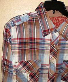 SOUTHERN THREAD MENS Retro LS Cowboy Rodeo Western Plaid Print SHIRT NWT L $65 baha ranch western wear ebay seller id soloedition www.baharanchwesternwear.com