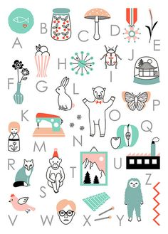 Love the colors of this Alphabet Poster by Audrey Jeanne.