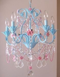 Turquoise and Pink Chandelier by A Vintage Room Super Girly, but cute. I for sure want a chandelier! Pink Chandelier, Chandelier Lighting, Painted Chandelier, Chandelier Ideas, Chandelier For Girls Room, Nursery Chandelier, Shabby Chic Chandelier, Chandelier Crystals, Painting Chandeliers