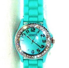 Aqua Rubber Strap Crystal Watch Christmas In July    http://stores.ebay.com/JEWELRY-AND-GIFTS-BY-ALICE-AND-ANN