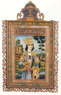 نقاشی پشت شیشه از  یک  چرخه تصویری، هنرمند ناشناس، ایران، اوایل قرن ۱۹، ۵۲.۱*۷۳.۶