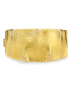Dune 18k Gold and Diamond Cuff Bracelet - Vendorafa
