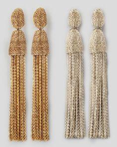 #engagementparty Oscar de la Renta Chain Tassel Earrings at Neiman Marcus. @Henney Hill Marcus