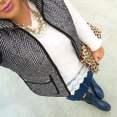 93f61fba45c5 See this Instagram photo by  mixandmatchmel • blush sweater lace pearls  herringbone vest denim skirt black Hunter boots leopard clutch fall winter  fashion