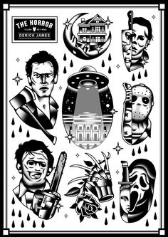 Classic Horror Tattoo Set Art Print
