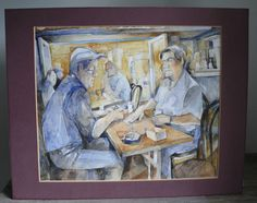 Men Playing Cards Signed Watercolor on Paper Artist Signed Abbie Rebinowitz 1989 #Impressionism $86.99