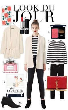 Look Du Jour: Schadooore!. Black and white striped long sleeve+black denim+black ankle boots+ivory cardigan+red clutch. Fall Evening Outfit 2016