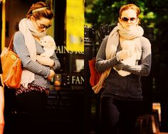i'll take her outfit and her puppy please. emma watson is amazing