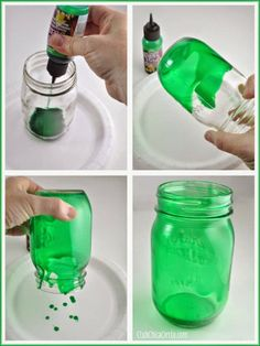 Mason jar luminaries - 15 Colorful DIY Mason Jars for Spring Mason Jar Projects, Mason Jar Crafts, Mason Jar Diy, Bottle Crafts, Tinted Mason Jars, Colored Mason Jars, Paint Mason Jars, Dye Mason Jars, Green Mason Jars