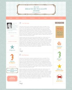 Custom Blog Design - Beach Bungalow Designs.  Smitten Blog Design.