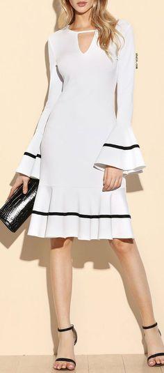 White Keyhole Front Striped Ruffle Sleeve And Hem Dress