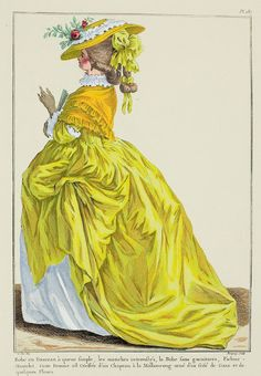 """Gown en Fourreau with simple train, the sleeves pulled up, the Gown without trim, Fichu-Mantelet. This Woman is coiffed with a Marlborough Hat trimmed with a Gauze frill and some Flowers."" (1784)"