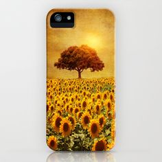 lone tree & sunflowers field (II) iPhone & iPod Case by Viviana Gonzalez - $35.00