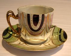 Miniature Art Deco Green Lusterware Cup & Saucer, 1920's