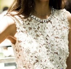 White lace top and strass necklace